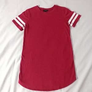 Forever 21 Red t-shirt dress with striped sleeves